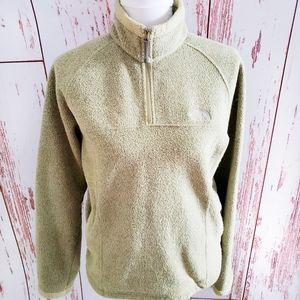 Women North Face green 1/4 zip fleece pullover